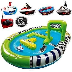 Jumbo Inflatable Pool Twin Radio Remote Control Rc Boat Racing Track Race Course Toy Game Fun