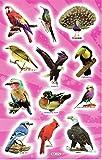 Charo Vögel Tiere Papagei Pfau Adler Specht Aufkleber 12-teilig 1 Blatt 270 mm x 180 mm Sticker Basteln Kinder Party