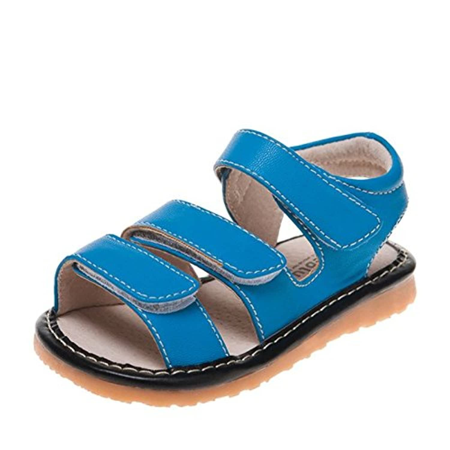 Little Blue Lamb - Squeaky Leather Toddler boys Shoes   Blue sandals 3 velcro - Size: 20