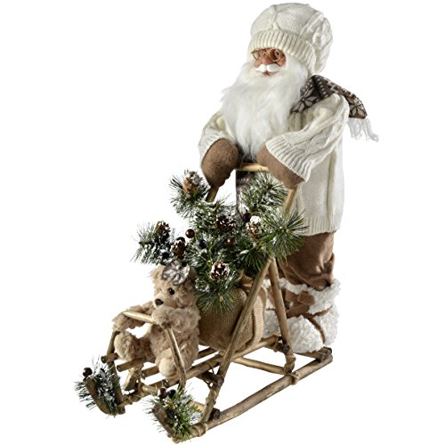 WeRChristmas–Figura de Papá Noel y Trineo Navidad decoración, 54cm, Color Blanco/marrón