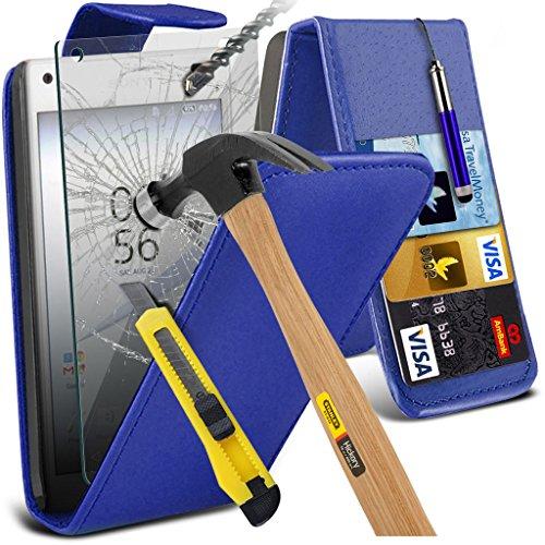 (Clear) Étui pour Apple iPhone 6s Case Survivor durable TPU Gel Clear Case Couverture de haute qualité de la peau + aluminium intra-auriculaires par i-Tronixs Leather Flip + Glass ( Blue )