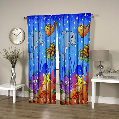 HOMEC Kids Collection Digital Printed Blackout Curtain- Set of 2 (Size - Window 46 X 60 inch/Color - Multi)