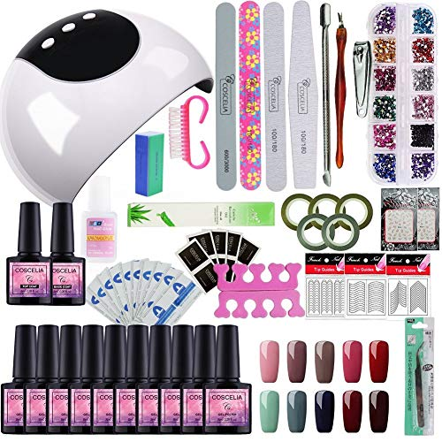Saint-Acior Gellack Nagelset Gelnägel Farben Nageldesign 24w UV LED Lampe Set Soak Off UV Gel Gellacken Farbenset