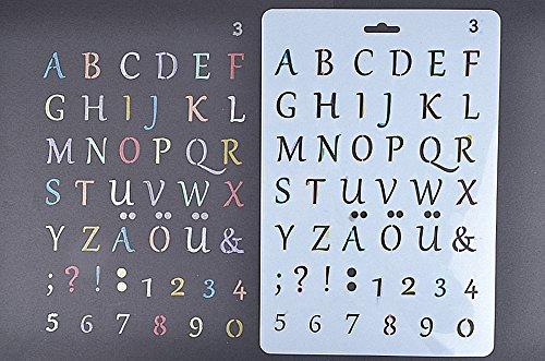 Amupper Buchstaben-Schablonen für Kinder, flexibler Kunststoff, 26 x 17cm, plastik, weiß,...