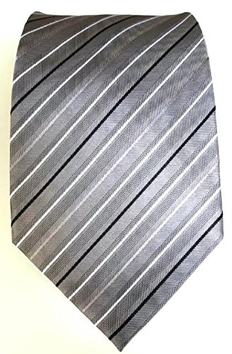 Moderne elegante Designer Herren Krawatte grau schwarz weiß gestreift 10cm Seide 100% Silk Tie Handmade (Krawatte Handgemachte Seide Weiß-gestreift)