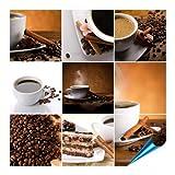 Fliesenaufkleber für Bad und Küche - 10x10 cm - Motiv COFFEE COLLAGE - 20 Fliesensticker für Wandfliesen