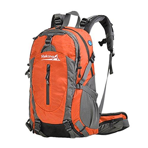 MAKINO Outdoor Sports Camping Wandern Wasserdicht Rucksack Daypacks Bergsteigen Tasche 40L 45L 50L Travel Trekking Rucksack mit Regen Cover Orange