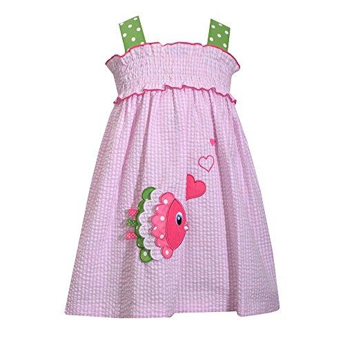 BONNIE JEAN Mädchen Seersucker Kleid, Sommerkleid, Fish in Love, rosa M39871-DV (5 (Gr. 116))