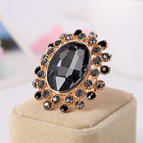 KFYU Übergroße Kristallglasöffnung Verstellbarer Ring Paar Ring hellgrau