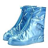 GESIMEI Regenüberschuhe Wasserdicht Schuhüberzieher Mehrweg Regenstiefel Schuhe Abdeckung Rutschfest Fahrrad Überschuhe (Blau,L (39-40 Damen))