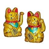 2er Set Maneki Neko Winkekatze Gold, Glückskatze groß, winkende Katze China, Glücksbringer Figur, HxBxT: 16 x 10 x 8 cm