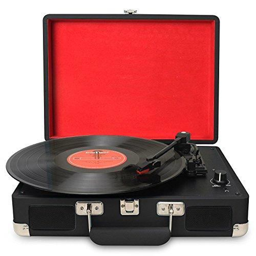 DIGITNOW! Tocadiscos Plato giradiscos Plato Vinilo 33/45/78 RPM Seleccionables, Maleta Portátil con 2 Altavoces Integrados, Grabador de Vinilo a MP3, USB Reproductor MP3, Entrada AUX y RCA, Negro