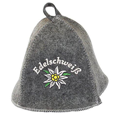Saunahut EDELSCHWEISS auch PERSONALIESIERBAR Saunakappe Saunamütze Sauna Filz Kappe Lustige Hüte (Grau ohne Namen)