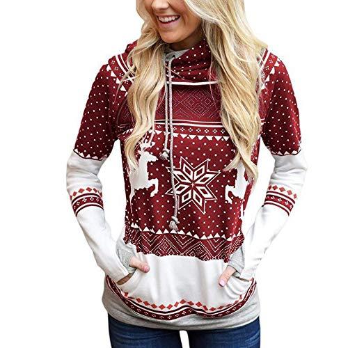 TEBAISE Frauen Pulli Pullover Sweatshirt Rollkragen Kontrastfarbe Damen Hoodies Frauen Kapuzenpulli Premium Lustig Lange Weihnachtspullover Weihnachtspulli Long Pullis Strickpullover