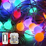 50 LEDs Globe Lichterkette Bunt Batterie, YSDRoyal 5m Wasserdicht Weihnachtsbeleuchtung Innen und Außen Lichterketten, Fernbedienung, Weihnachten/Halloween / Hochzeit/Party