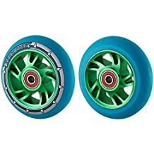 par de Pro 110mm Espiral Aleación Núcleo Rueda Scooter - PU azul - Verde Núcleo, 110
