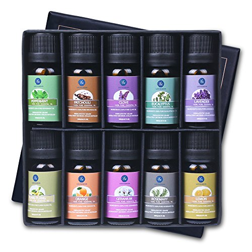 Lagunamoon ätherischen Ölen, Top 10 reine Aromatherapie Öle Geschenk-Set Lavendel Orange Pfefferminz, Zitrone, Rosmarin Ätherisches Öl (Yoga-spray Eukalyptus)