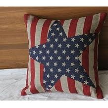 Lino y algodón cuadrado decorativo Hidoon® almohada Funda de cojín con barras y estrellas de la bandera americana cadorabo