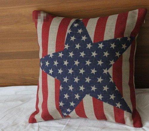 coliang Big Star Überwurf Kissen Fall, Vintage Style American Flag die Sterne und die Streifen Werfen Kissen Fall Kissenbezug 45,7x 45,7cm (45x 45cm) [keine Einsatz]–Big Star, Baumwolle / Leinen, Big Star, (45x45CM)[No Insert] (Werfen Baumwolle Streifen)