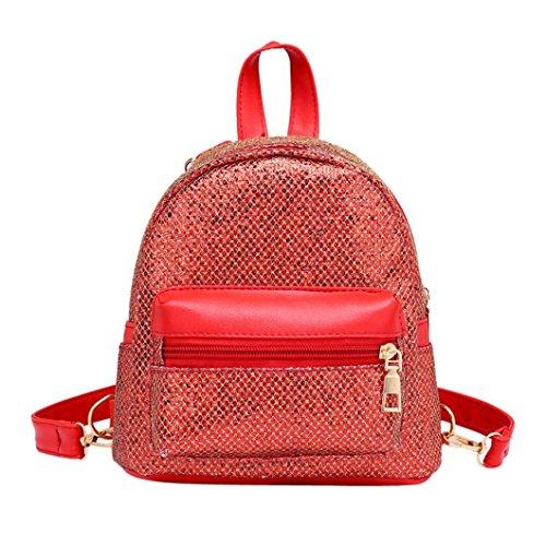 UFACE Damenmode Pailletten Mini Rucksack Mode Frauen MäDchen Bling Weibliche Reise Schultasche (Rot)