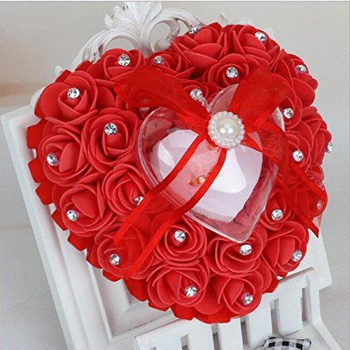 bpblgf Hochzeitsringkissen Ringkissen Hochzeit mit eleganten Satin floral Herz-Ring-Box Schaum Rose Schaum Rose Herzform Kuchen Ring-Box Herzform Kuchen Ring-Box, red, 16 * 15cm (Western-stil Hochzeit Ringe)