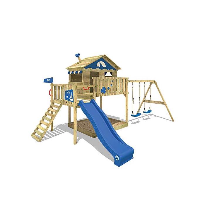 WICKEY Spielturm Smart Coast Kletterturm Spielhaus auf Podest mit Doppelschaukel und blauer Rutsche, großem Sandkasten…