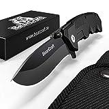BearCraft Klappmesser in Mattschwarz | Scharfes Outdoor Survival Taschenmesser | Kleines Einhand-Messer mit