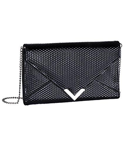 Kleine Pochette (SIX Basic kleine Damen Handtasche, Clutch, Pochette, Abendtasche im Couvert-Stil, schwarz mit 3D-Effekt, Abnehmbarer Riemen, Silvester (726-075))