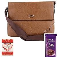 SFU E Com Laptop Bag|Messenger Bag|Tablet Bag|Business Briefcase, Office Handbag Briefcase Shoulder Messenger Bag for Men | Premium Gift Hamper For Him, Husband, Boy Friend | Valentine Premium Gift | Valentine Greeting Card | Cadbury Dairy Milk Silk Chocolate