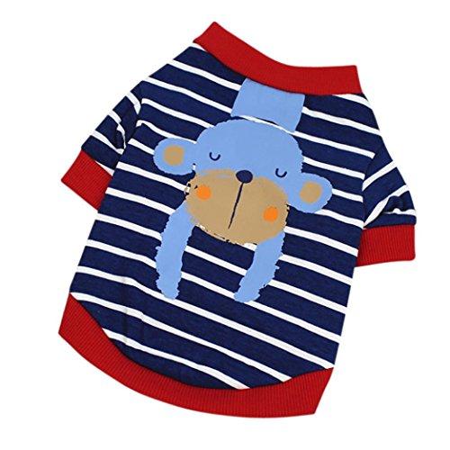 Xxs Hunde Kostüm - erthome Hundemantel, Hunde gestreiftes T-Shirt Niedliches Cartoon Sommer Hundekleidung Welpen Kostüme (XS, Blau)