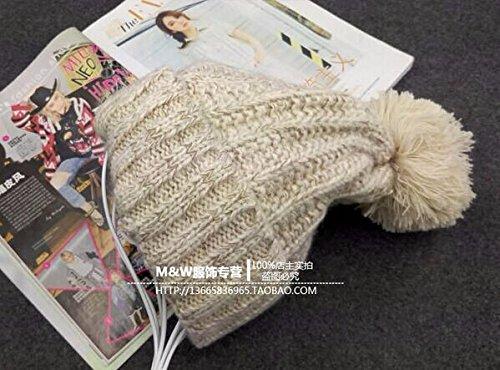 Winter Hat Knit Russian Cute Trapper Warm Cool Girl Women Cream Tan Pom Pom