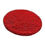 Sharplace Rund Badmatte aus Mikrofaser Rutschfest Bodenmatte Türvorlage Schmutzfangmatte - Rot, Dia. 60cm