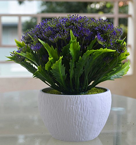 NOVICZ Natural looking Artificial Flowers with Flower Vase (Purple)