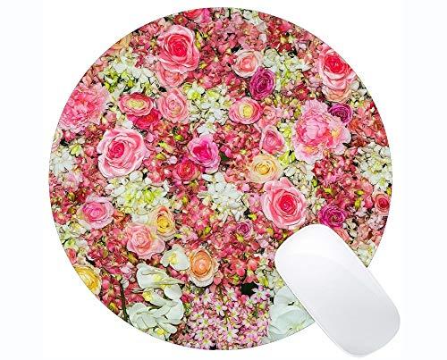 Runde Mausunterlage aus Naturkautschuk, bedruckt mit Rosenblüten mit weißen Blütenrändern