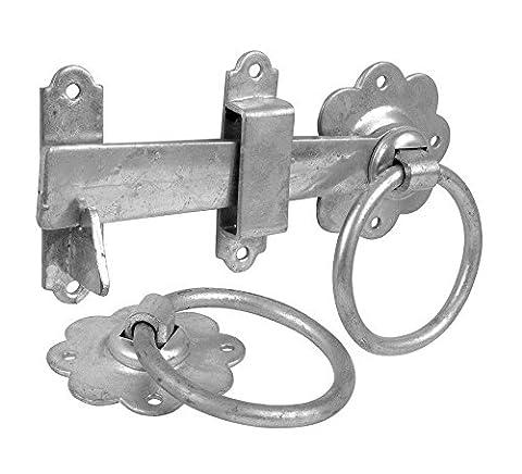 Bulk Hardware BH01808 Gate Door Latch Smooth Ring, 150mm (6 inch) - Galvanised