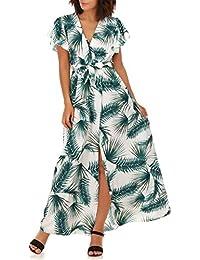 La Modeuse - Robe longue imprimé feuilles tropicales à manches ... bc5bf726d914