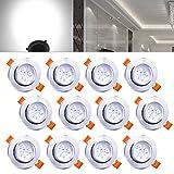 Hengda 12x 3W LED Einbaustrahler Dimmbar Kaltweiß für Flur Wohnzimmer Badezimmer, Aluminium Deckenleuchten,Schwenkbar 30 Grad, Rund Design IP44