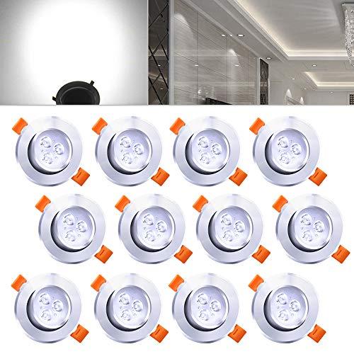 Hengda 12X 3W LED Decken Einbaustrahler Schwenkbar 15 Grad Aluminium Silber matt Einbau Strahler Bad-Beleuchtung Küchenlampen Kaltweiß 210 Lumen 230V