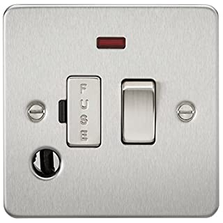 Knightsbridge FP6300FBC FPAV6300FBC Flat Plate 13A Switched Fused Spur Unit with Neon and Flex Outlet-Brushed Chrome