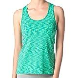 Lapasa Women's Quick Dry Slimming Top - NON-FADE FABRIC - Racerback Yoga Tank Vest Built-Free Bra Assorted Colours Green Space Dye M