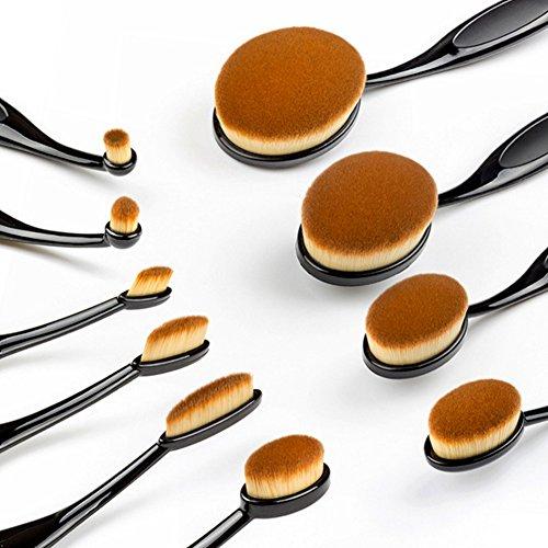 10 pcs Pinceaux de maquillage professionnels Brosse à dents Forme ovale Fond de teint poudre Brosse kit