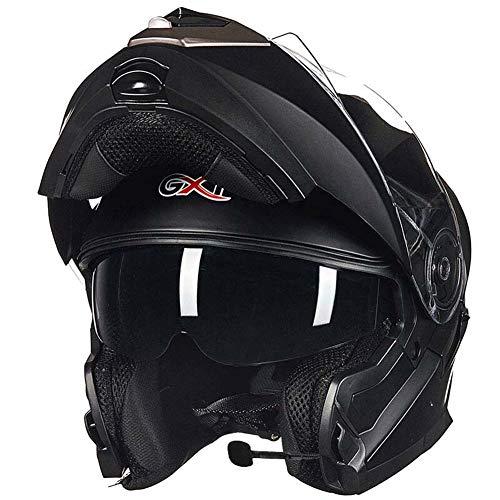 LYJNBB Caschi integrali Moto Bluetooth, modulari apribili Dual Visor Anti-Fog Casco per Adulti Motocross, Microfono con Altoparlante Incorporato per la Risposta Automatica, Certificazione DOT,G,M