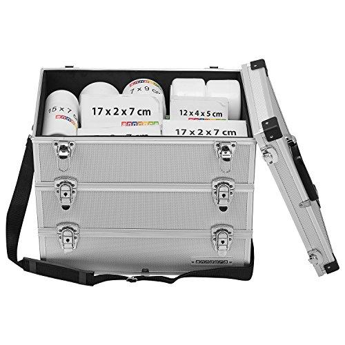 anndora® Werkzeugkoffer 32 Liter Angelkoffer Etagenkoffer 3 Ebenen Silber Alu - 6