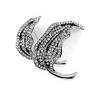 Glamorousky Elegant Leaf Brooch with Silver Austrian Element Crystal (426)