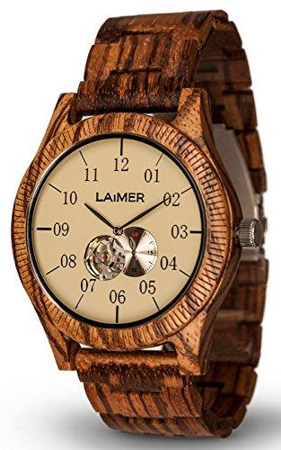 LAiMER Automatik Holzuhr GRAND EDITION ERIK - Herren Armbanduhr aus 100% Zebranoholz für einzigartigen Tragekomfort und Lifestyle - natürlich, federleicht, Südtirol