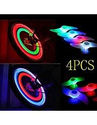 dengzhu 4pièces pour vélo vélo Cyclisme rayons fils pneus LED en silicone de roue