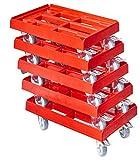 5 Stück Transportroller für Kisten 60 x 40 cm mit 2 Bremsen in rot