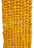 #8: SPHINX ARTIFICIAL MARIGOLD FLUFFY FLOWERS GARLANDS FOR DECORATION - PACK OF 5 (Light Orange)