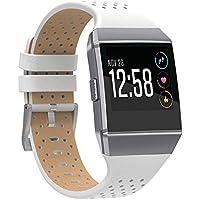 SnowCinda Fur Fitbit Ionic Armband Leder, Ersatz Weich Leder Gasdurchlassig Zubehor Sport Uhr Band fur Fitbit Ionic Smartwatch Damen Herren