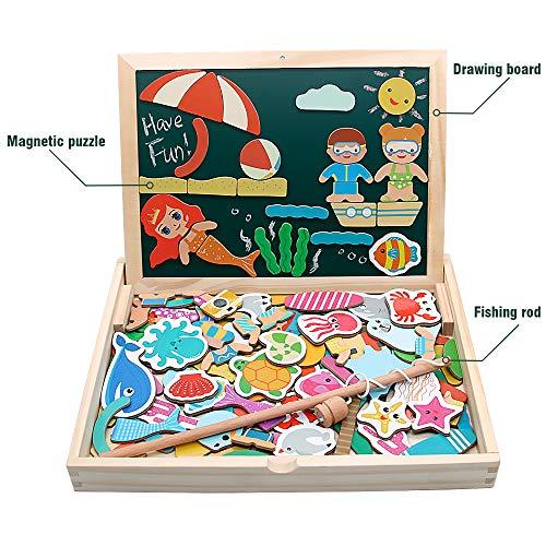 yoptote 120 Piezas Puzzles de Madera Magnético, Pizarra Magnética Rompecabezas Madera Tablero de Dibujo de Doble Cara Juguete Educativo Pesca para Niños 3 4 5 Años